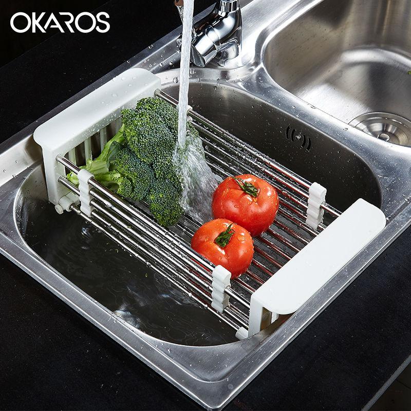 OKAROS Multifunction Kitchen Sink Drain Rack 304 Stainless Steel Fruit Dish Rack Set Shelf Insert Countertop Storage Organizer