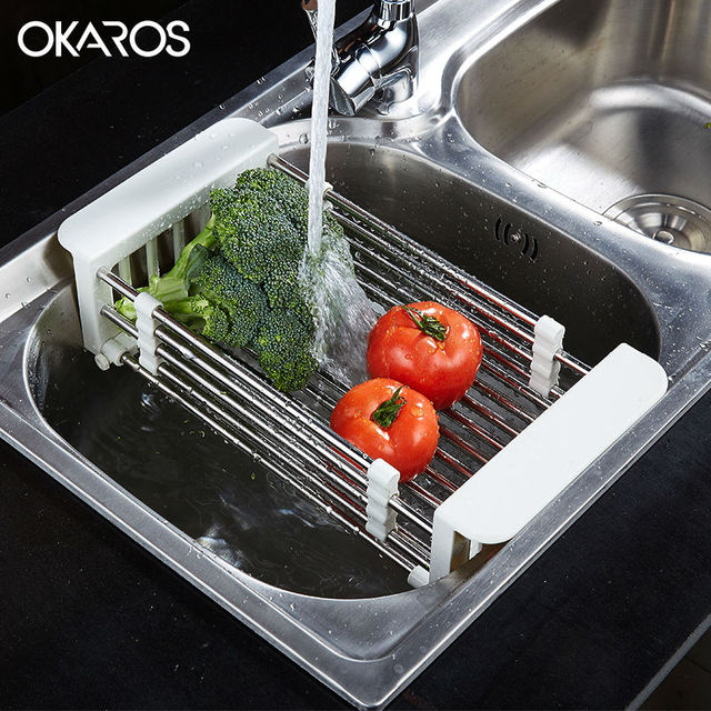 Kitchen Sink Drain Rack Okaros multifunction kitchen sink drain rack 304 stainless steel okaros multifunction kitchen sink drain rack 304 stainless steel fruit dish rack set shelf insert countertop workwithnaturefo