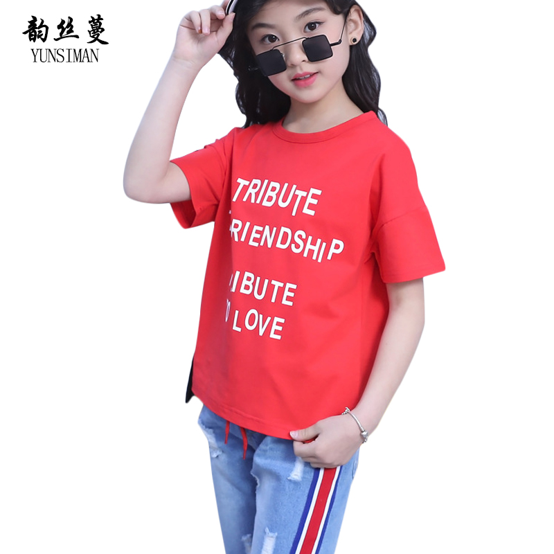 Baby Clothes Boys and Girls Summer Clothes Sets White Letter Print Cotton T Shirt Knee Pants Hole Jeans 2pcs Suit 3 -12 Y 38C6