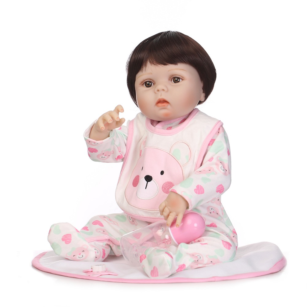 NPKCOLLECTION 55CM Soft Silicone Lifelike newborn Babies girl with lovely clothes Bebe Reborn Menina Reborn Baby Doll Girl Toys 55cm silicone reborn baby doll toy lifelike npkcollection baby reborn doll newborn boys babies doll high end gift for girl kid