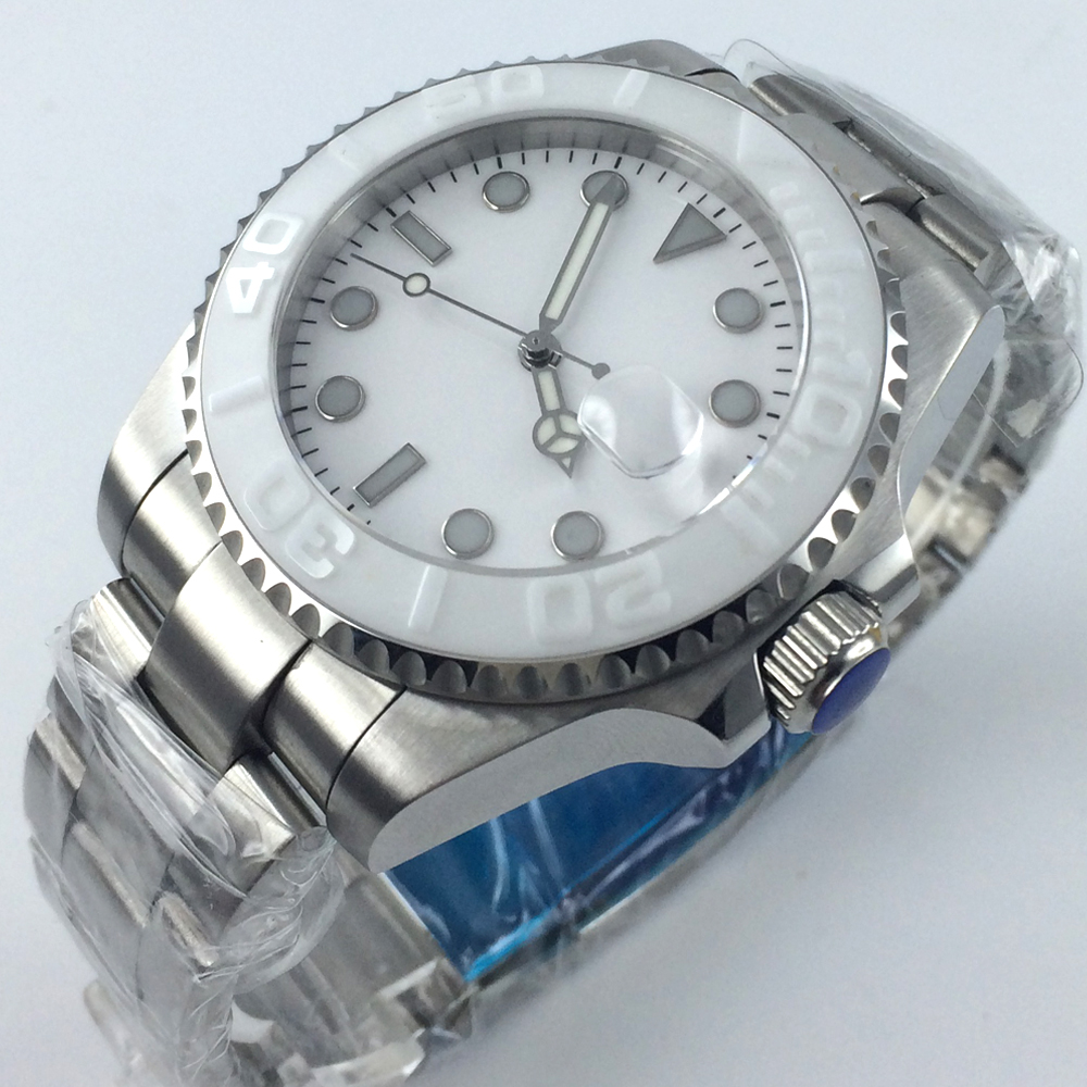 ELIGER 43mm white dial luminous sapphire glass automatic mens watchELIGER 43mm white dial luminous sapphire glass automatic mens watch