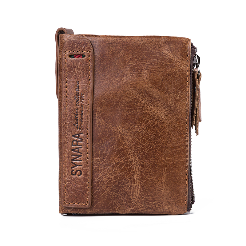 Synara Crazy Horse Genuine Leather Men Wallets Credit Business Card Holders Double Zipper Cowhide Leather Wallet Purse Carteira onlvan mens wallet crazy horse genuine leather cowhide cover coin purse man vintage male credit id multifunctional wallets