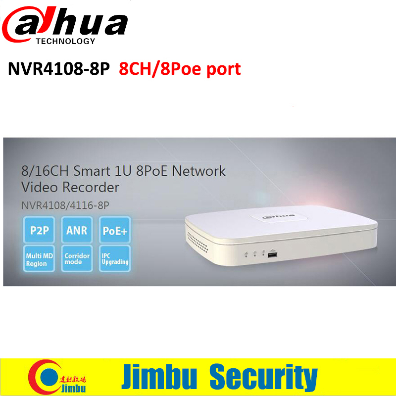 Dahua NVR IPC UPnP 8PoE ports video recorder NVR4108-8P ONVIF Version 2.4 H.264/MJPEG dual codec decoding Max 80Mbps free shipping 2016 new cctv dahua nvr 16ch 8 poe network video recorder nvr4216 8p 4ch alarm in and 2ch relay out support onvif