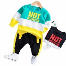 купить 2019 Spring Baby Girl Boy Clothing Infant Clothes Suits Casual Sport Cotton T Shirt Pants 2PCS/Sets Kid Child Toddler Tracksuits по цене 555.57 рублей