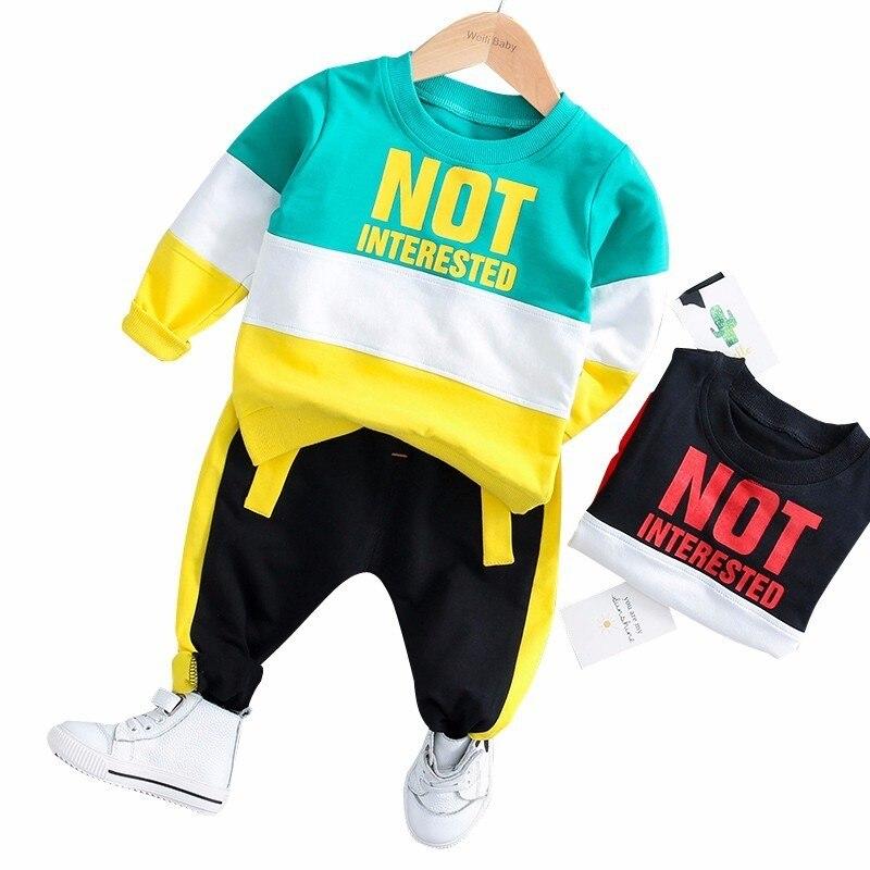 42aa8231a 2019 primavera Bebé Ropa de niño niña ropa de bebé trajes de deporte Casual  Camiseta de algodón pantalones 2 unids set chico niño Niño chándales