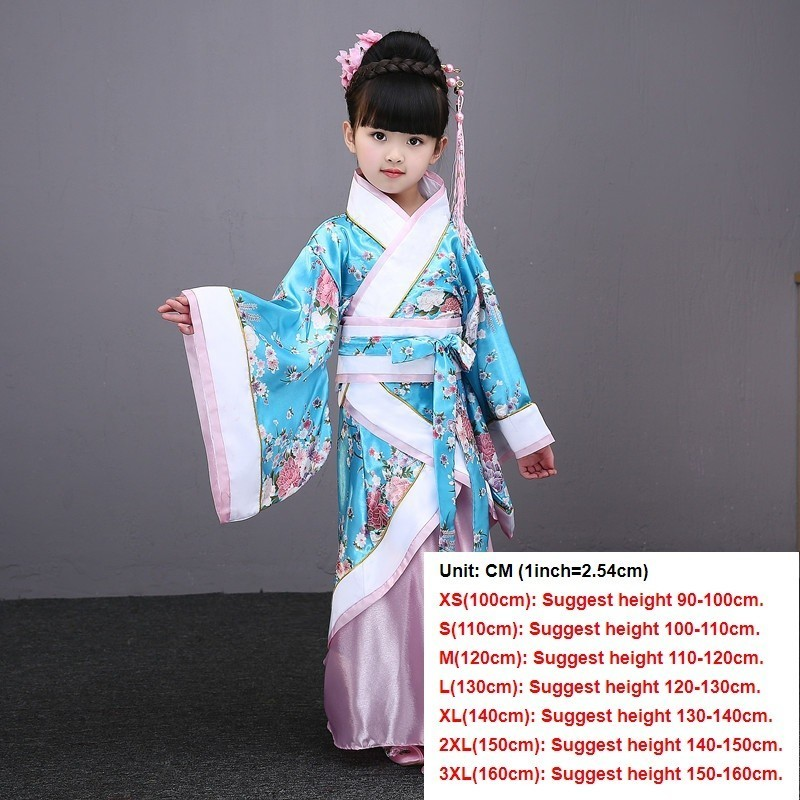 Традиционные китайские танцевальные костюмы для девочек, древняя опера династии Тан, Хан мин ханьфу, платье, детская одежда, народные танцевальные Детские костюмы - Цвет: sky blue