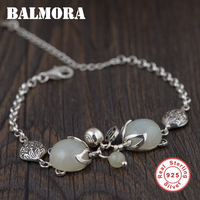 BALMORA Genuine 925 Sterling Silver Jewelry Fox Bracelets for Women Gift Chalcedony Animal Bracelet about 17+5.5cm TRS40203