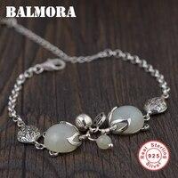 BALMORA Genuine 925 Sterling Silver Jewelry Fox Bracelets For Women Gift Chalcedony Animal Bracelet About 17