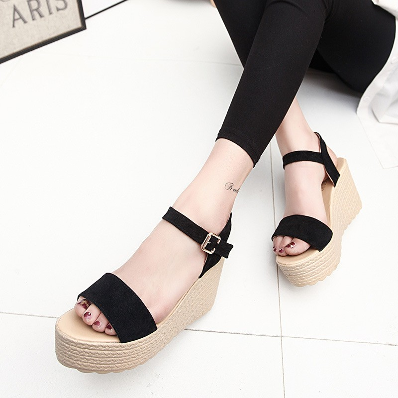 2016 new summer women wedges sandals Thick Soled Shoes Solid 4 colors open toe Women Ladies Sandals HSD06 (3)
