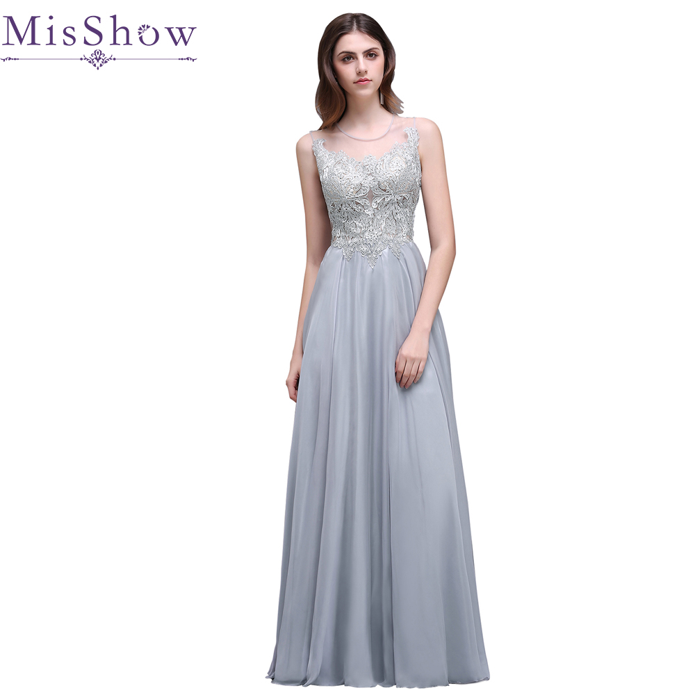 In Stock Vestido De Festa Longo 2018 Long Gray Evening Dress Appliques Backless Formal Chiffon Evening Gown Elegant Prom Dresses
