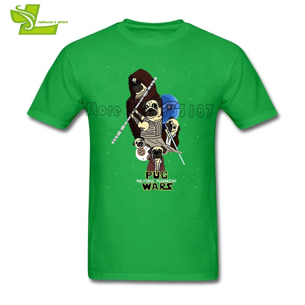 Pug Wars The Force Awakens Star Wars Man T Shirt Casual Normal Tops Boy Short Sleeve Round Neck Tees Dad Latest Simple Clothing
