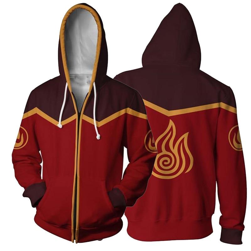 Men Women Avatar: Last Airbender Costumes Hoodies 3D Printing Cosplay Zipper Fashion Flame Sweatshirts Spring Autumn Jackets