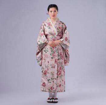 1e7904f1551 Розовые цветы японский национальный для женщин кимоно платье Новинка Хлопок  Юката с принтом Оби Вечеринка один размер NK014