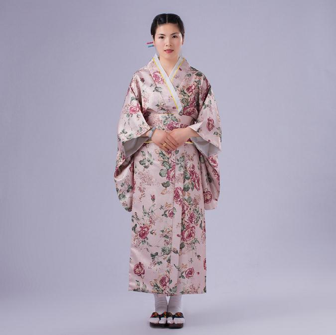̿̿̿(•̪ )Pink Flowers Japanese National Women Kimono Gown Novelty ...