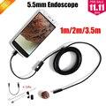 Endoscópio endoscópio 5.5mm Lens Endoscópio USB Android Câmera 1 M 2 M 3.5 M À Prova D' Água Carro Tubo de Inspeção Cobra Tubo MicroUSB Câmera Endoskop