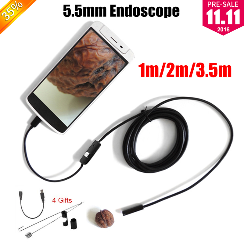 Endoscope 5.5mm Lens Endoscope USB Android Camera 1M 2M 3.5M Waterproof Car Pipe Inspection Snake Tube MicroUSB Endoskop Camera 7mm lens 2m 5m usb endoscope camera snake tube pipe waterproof usb endoskop car inspection borescope endoscope camera android