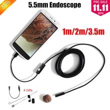 Эндоскоп 5.5 мм Объектив Эндоскопа USB Android-Камера 1 М 2 М 3.5 М Водонепроницаемый Автомобиля Труба Инспекции Змея Пробки MicroUSB Endoskop Камеры