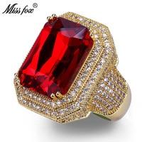 MISSFOX Hip Hop High Quality Square Ruby Rings Men Super Luxury Brand Full Micro Pave CZ Diamond Bling Wedding Rings Men Jewelry