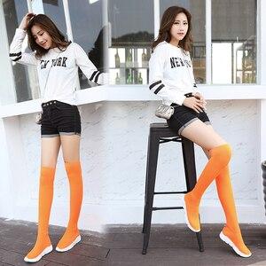 Image 3 - New designer mulheres botas altas da coxa magro longo botas mujer outono inverno sobre o joelho botas meia mulheres cunhas bota feminina y702