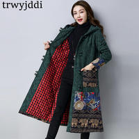 Chinese Style Hooded Winter Coat Woman 2018 Fashion Flower Printed Cotton Loose Coat Female Plus Size Cotton Padded Jacket A1582