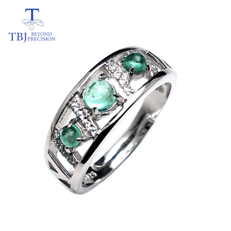 TBJ,100% natural Real zambia green emerald gemstone adjustable ring in 925 sterling silver fine jewelry for women with box