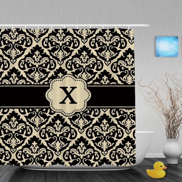 Customized Shower Cutains Black Tan Damask Monongram Personalized Bathroom Curtains Polyester Fabric With Hook