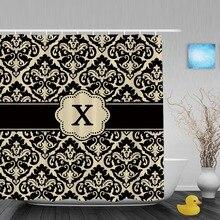 Personalizar Ducha Cutains Bronceado Negro Damasco Monongram Personalizada Cortinas Bano Tela De Poliester Con Gancho