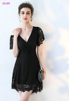 Glamorous Black Lace Cocktail Dresses 2018 New Sexy V Neck Short Sleeve Knee Lingth Prom Praty Gown Short Formal Casual Dress