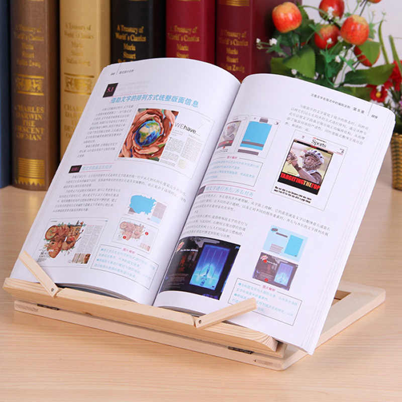 Multifunction Wood Table Stand Reading Bookshelf Bracket Tablet PC Pad Drawing Support Wooden Bookends Desk Organizer Stationery