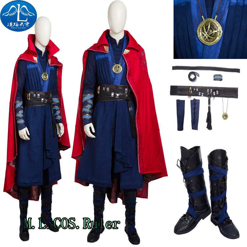 Top Grade Doctor Strange Stephen Cosplay Costume Custom Size Outfit Full Suit With BOOTS Any Size