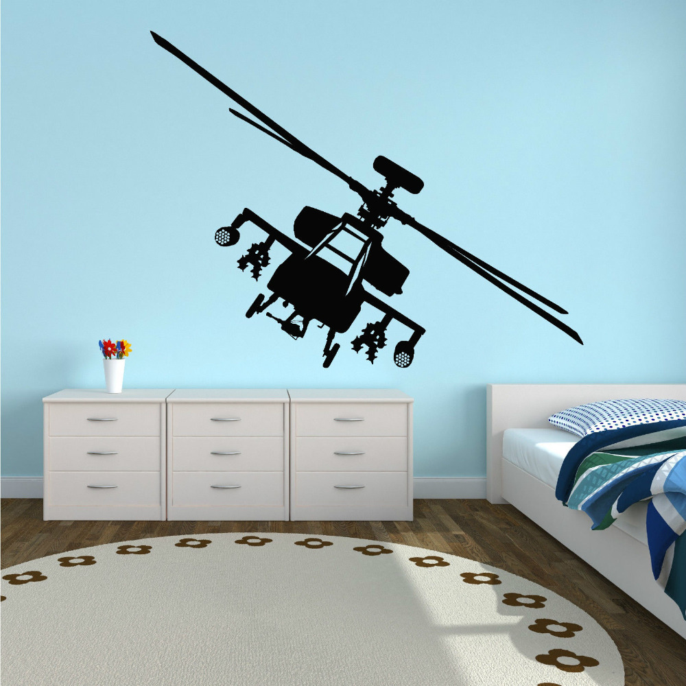 APACHE HELICOPTER AH-64 Boeing Vinyl wall art sticker decal Modern Home Decal Pinturas Murais Removable PVC Bedroom D212