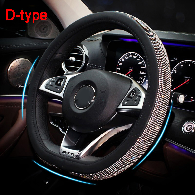 D Shape Ring Crystal Rhinestones Car Steering Wheel Cover Diamond Black Leather Steering-Wheels Case For Girls Women Accessories