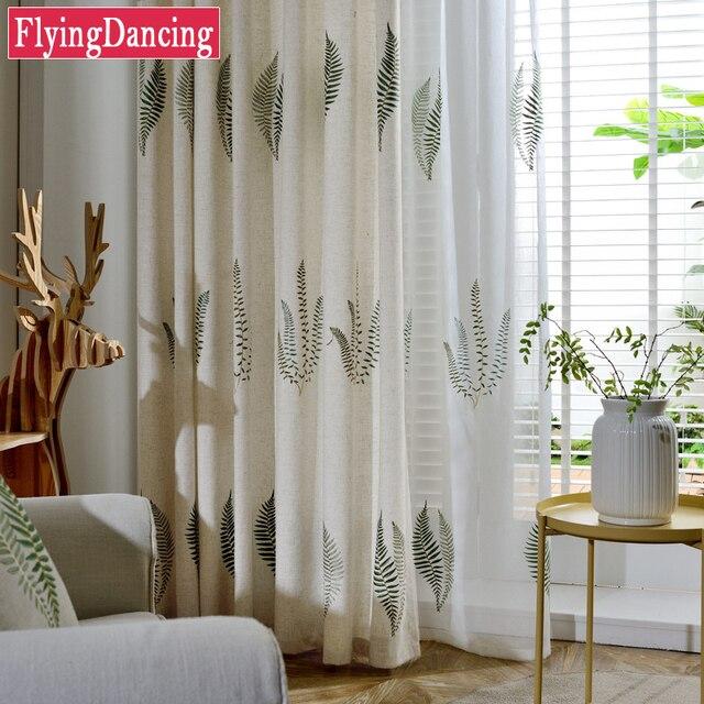 Pastoral Lino hojas Cortinas para dormitorio sala comedor bordado ...