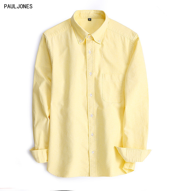 PAULJONES 2017 New 100% Cotton Solid MenS Long Sleeve Oxford Shirts Slim Fit Top Quality Collar Button Man Casual Dress Shirts