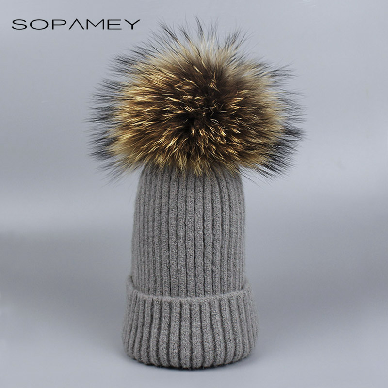 Winter Autumn Pom Pom Beanies Hat Women Knitted Wool Skullies Casual Cap Real Raccoon Fox Fur Pompom Warm Hats 2017 Bones skullies beanies newborn cute winter kids baby hats knitted pom pom hat wool hemming hat drop shipping high quality s30