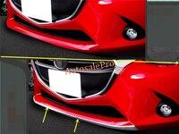 ABS Chrome Front Bumper Under Lip protector Strip Cover Trim 1pcs For Mazda 2 Demio 2015 2016