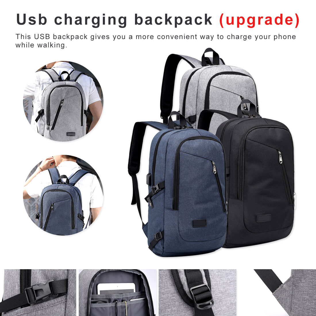 Laptop Backpack Mens Waterproof Fits 15.6 Inch Laptop School Backpack Day Pack Multi Function Business Notebook Bags With Lock