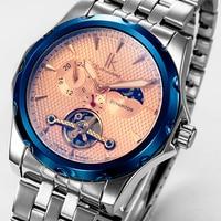 IK Colouring Automatic Self Winding Mechanical Men Watch Sun Moon 24 Hour Tourbillon Colorful Glass Casual Male Wristwatch