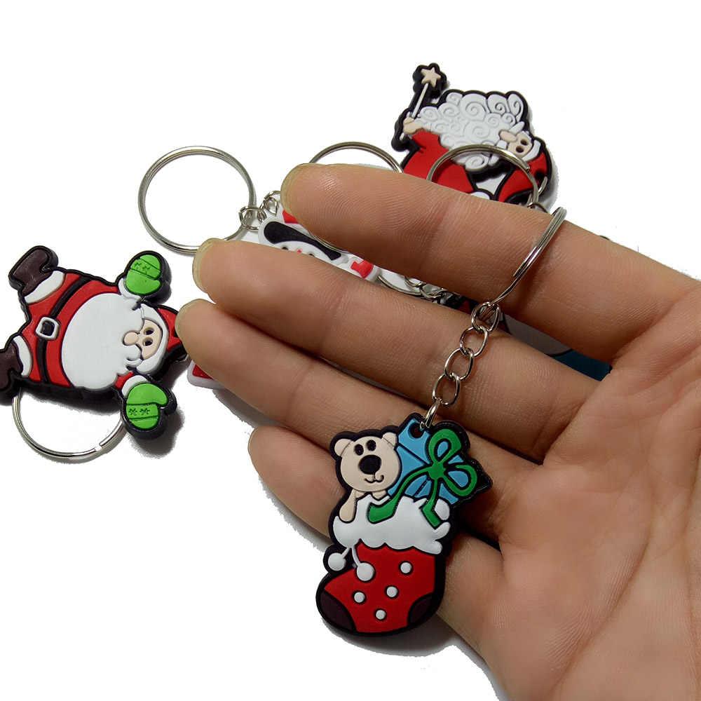 New Hot PVC Papai Noel/Árvore/Meias/Chaveiros Chaveiros Presentes de Natal Do Boneco de neve Bonito Árvore De Natal Charme Chave chian Jóias