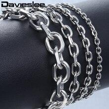 Davieslee браслеты из нержавеющей стали для мужчин серебряный цвет Rolo кабельная цепь мужские s браслет Модные ювелирные изделия подарок DLKBM41