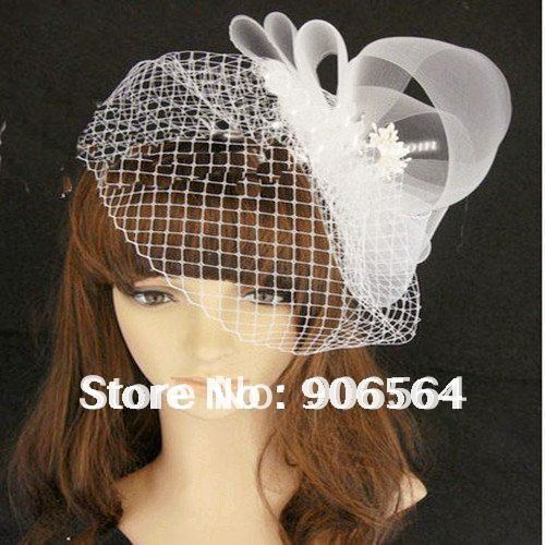Free shipping whole sale and retail the fashion new netting veils fascinator hats women white color wedding hair accessories M19