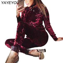 7 Colors New Sexy Women Suits Fashion Velvet Long Sleeve Sportsuit Women 2 Piece Set Slim
