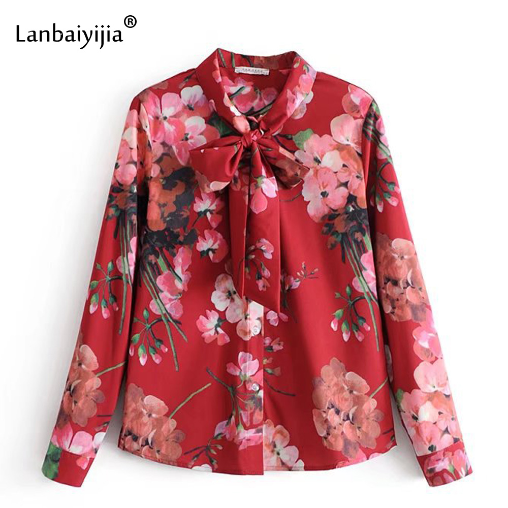 Lanbaiyijia Flower print O-neck long sleeve spring blouse Women Shirt single-breaste shirt bowknot Lace-up fashion brand shirts