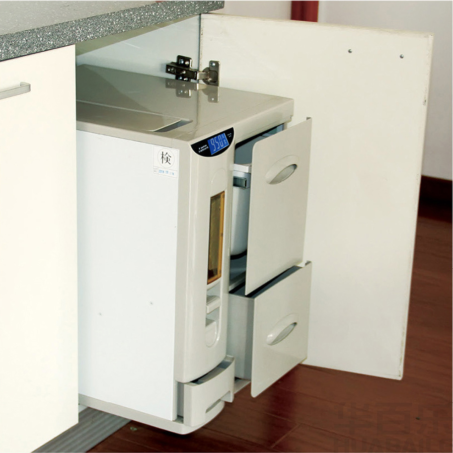 Hua Bai Le embedded rice box kitchen cabinet storage rice barrel meter cabinet door pull type meter cylinder barrel