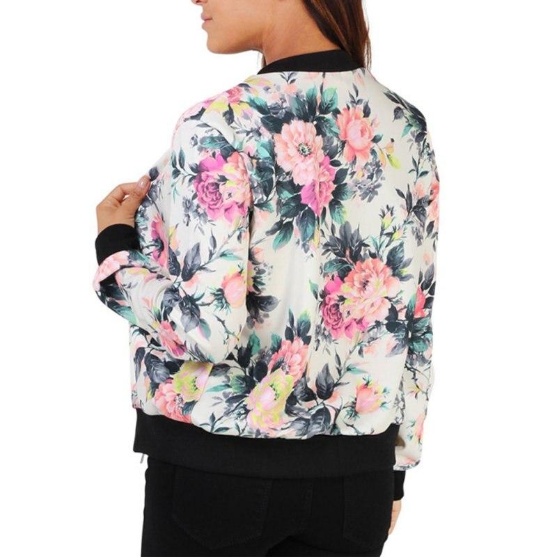 Mode-stil Frauen Damen Langarm Biker Kurzmantel Jacke Floral Gedruckt Zip Top Outwear Basic Jacken