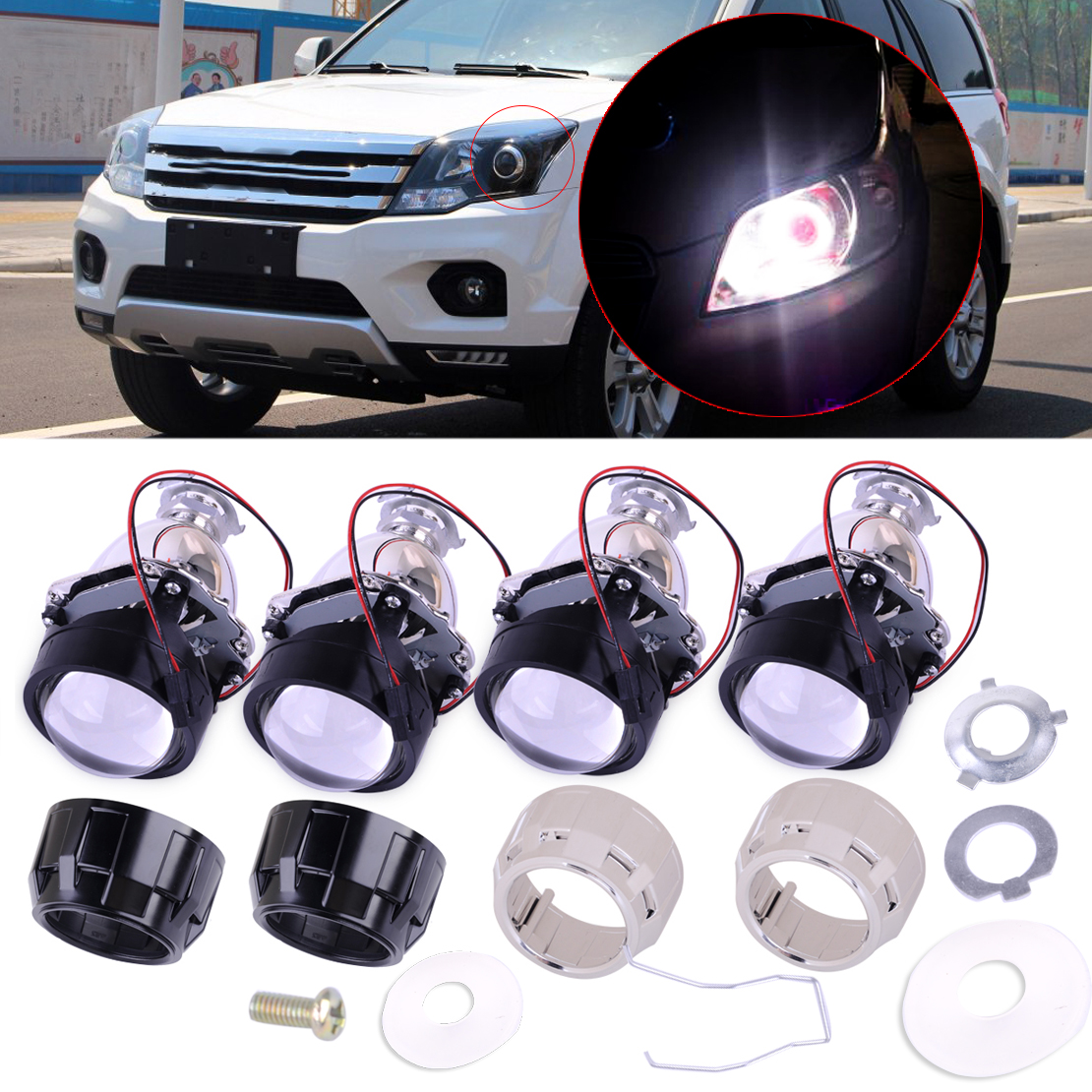 beler Car 2.5 inch H1 2 pin Right And Left Mini HID Low High Beams Bi-xenon Projector Halo Lens Kit with Clear Headlight Shroud