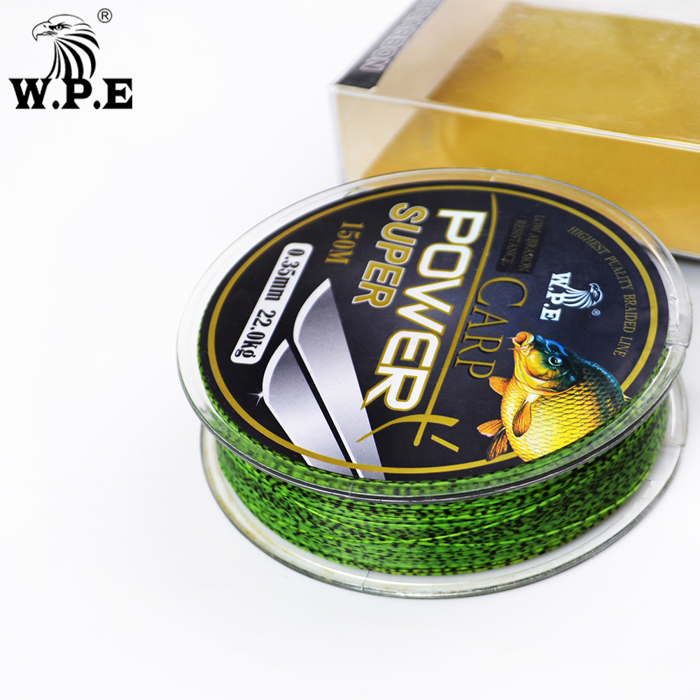 W.P.E Brand Super Power Carp fishing Line 0.2mm-0.60mm Fluorocarbon Coating Fishing Line 10-41KG Double color Fast Sinking Line image