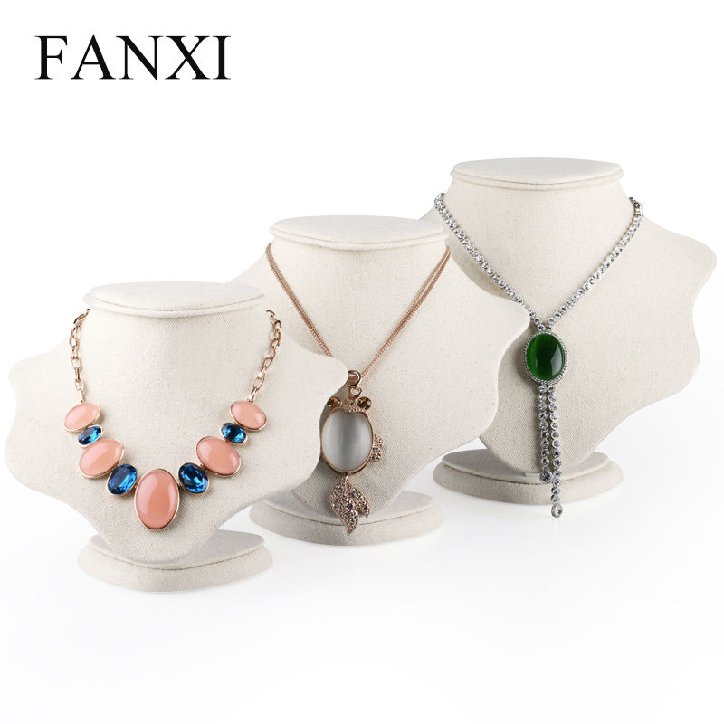 FANXI    Necklace Stand Bust MDF Showcase Mannequin Wrapped With Beige Linen Jewelry Display Holder Exhibition Stand Organizer