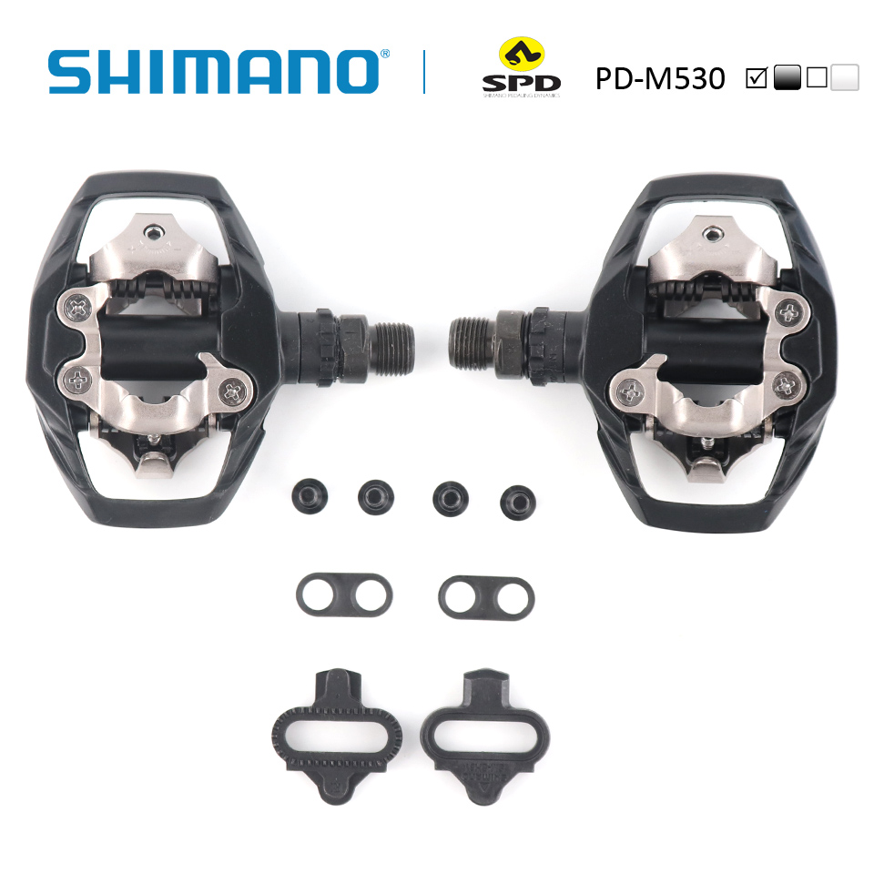 SHIMANO PD-M530 Pedal SPD MTB XC Montanha Clipless Bicicleta incl SM-SH51 chuteiras Ideal para trilha e passeios de mountain bike pedal