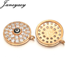 Fashion Round High Quality Brass Cubic Zircon Pendant Accessories Evil Eye DIY Earrings Necklace Production 11*11mm